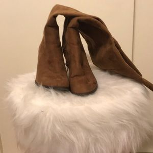 Lightly worn dark tan over the knee boots size 8